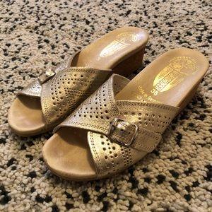 Worishofer Comfort Wedge Sandal Gold Slip On Sz 36